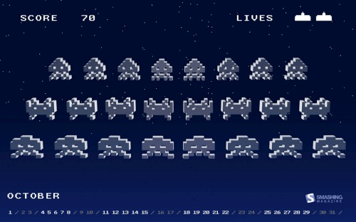 Alien Invaders calendar