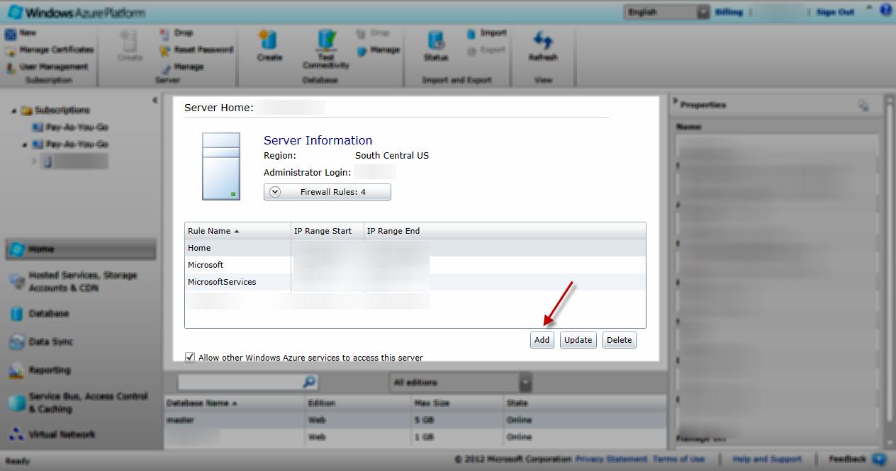 SQL Azure Server Configuration