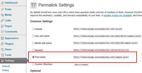 WordPress permalink settings image