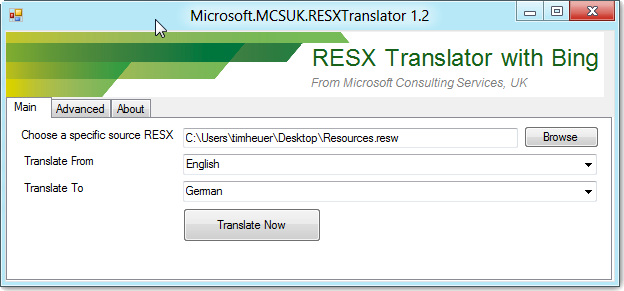 RESX Translator with Bing