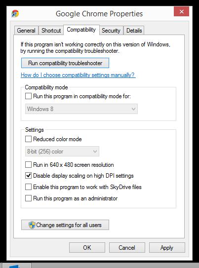 Chrome compatibility setting