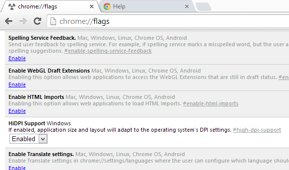 Chrome HighDPI Flag setting