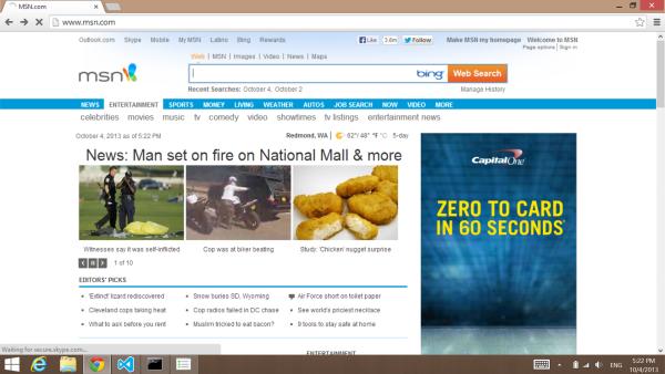 Chrome msn.com before