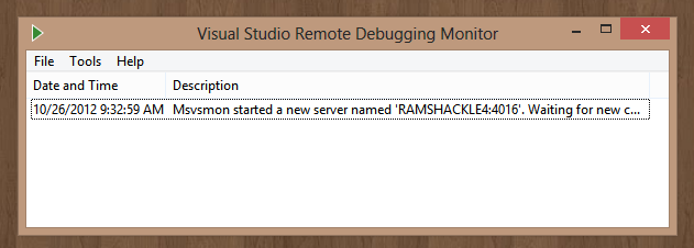 Remote Debugger launched
