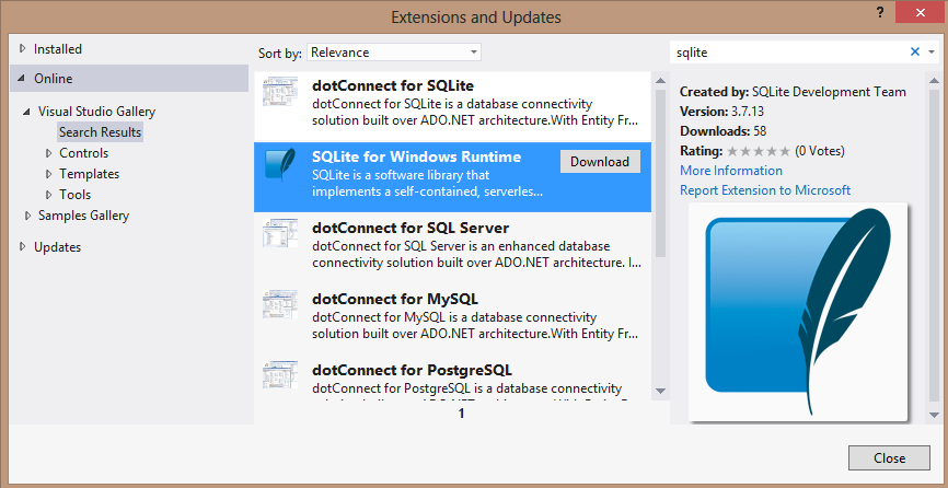 Visual Studio Extensions dialog