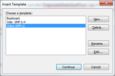 Dynamic Template insert dialog