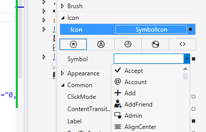 Visual Studio AppBarButton Icon tooling image