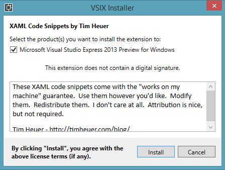 VSIX installer dialog