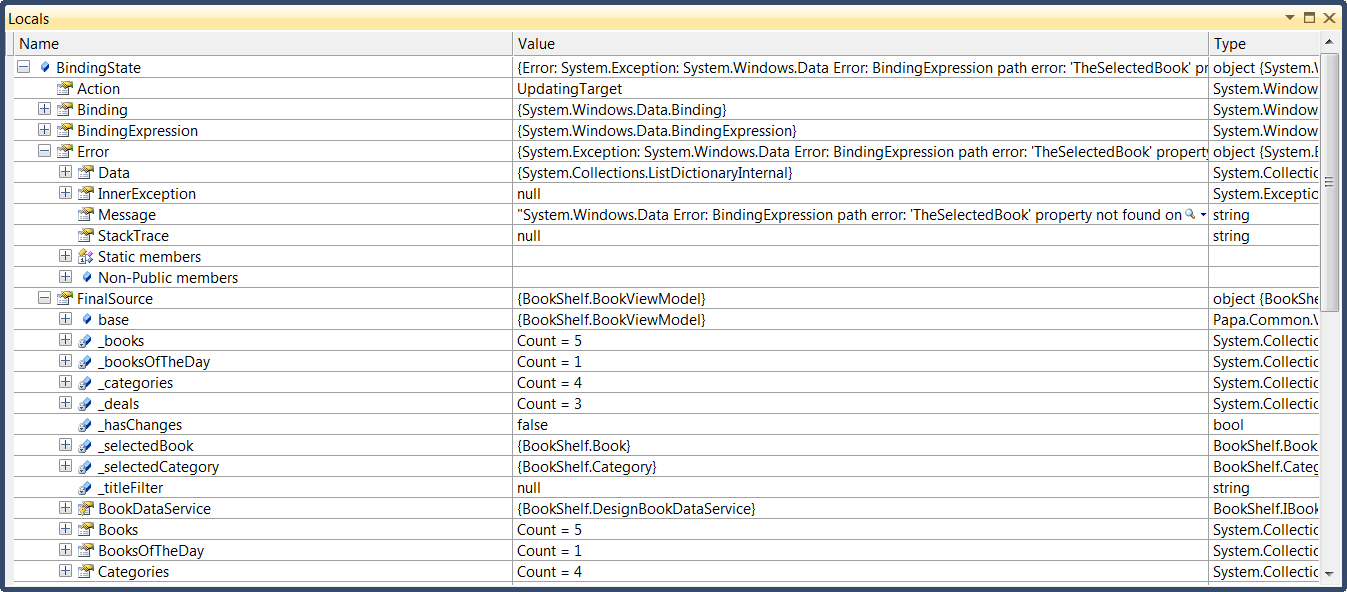 XAML Breakpoint Watch Window