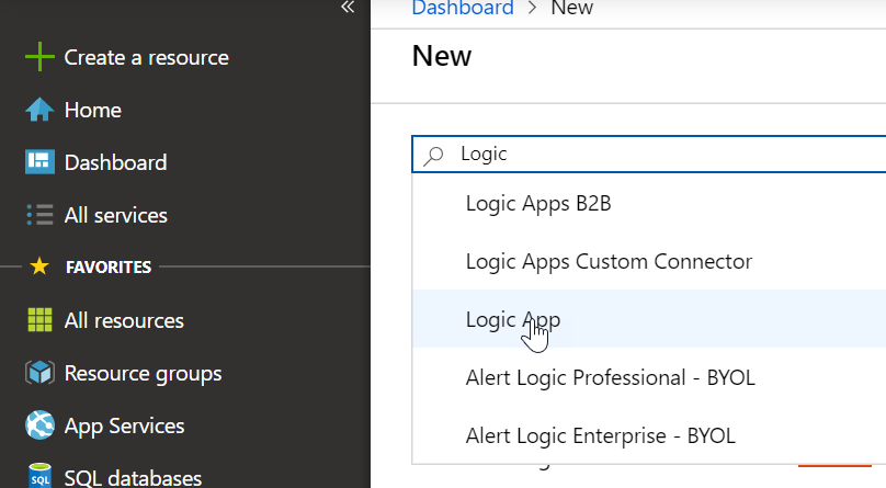 Screenshot of Azure portal