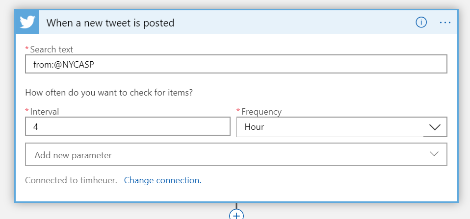 Screenshot of Twitter connector