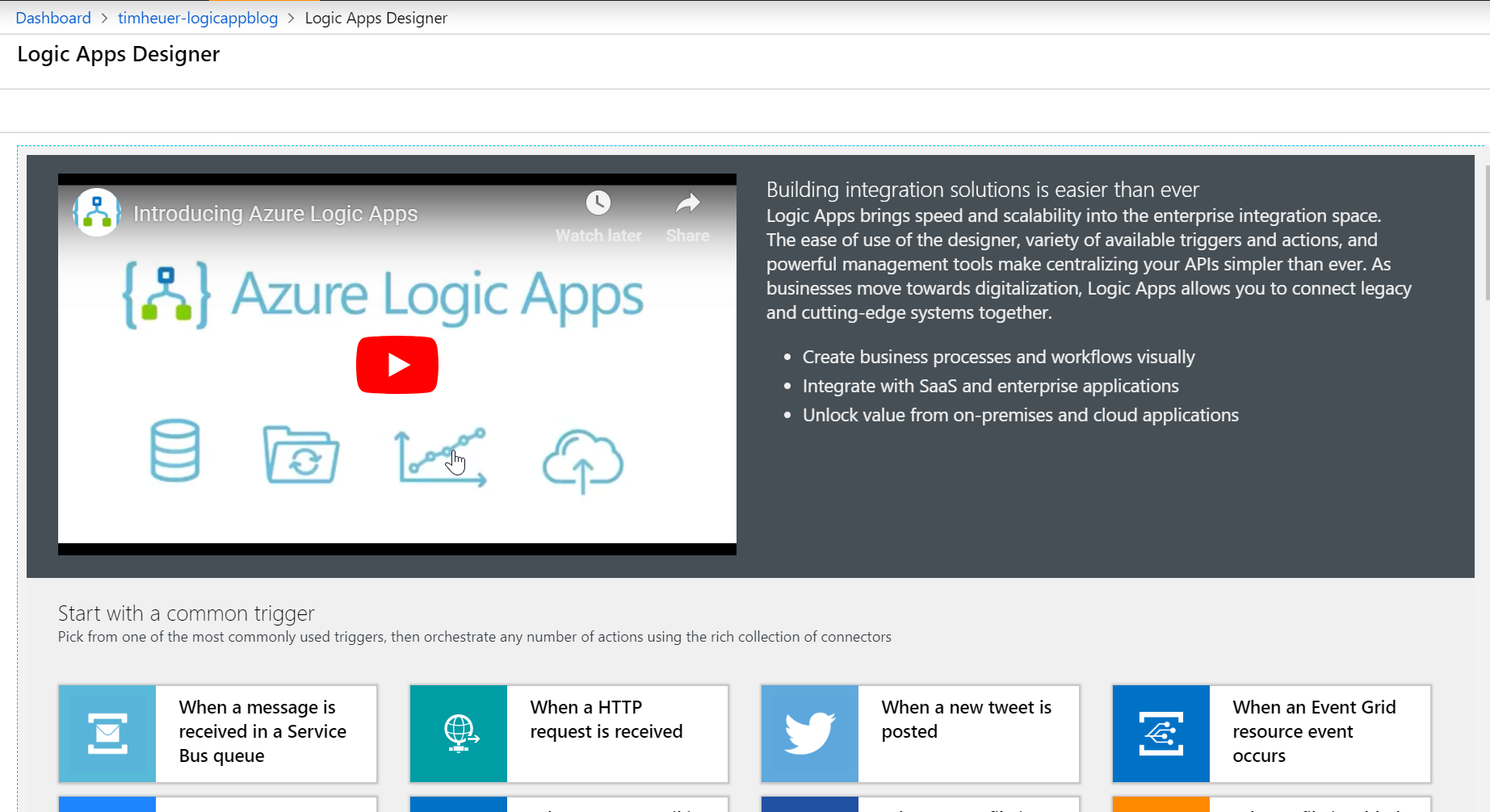 Screenshot of Azure Portal Logic App creation