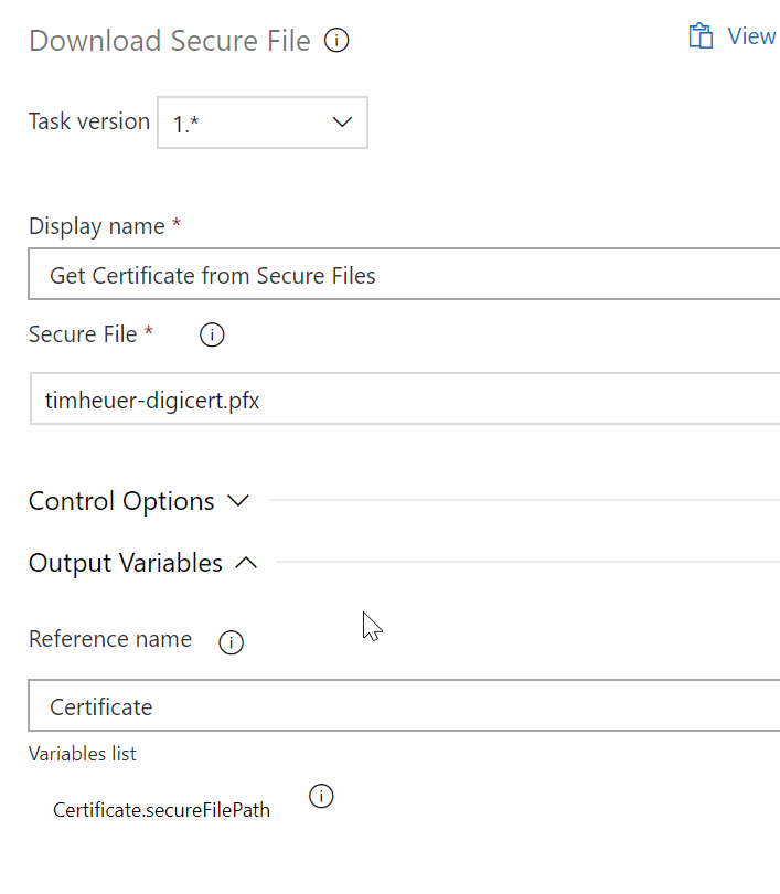 Screenshot of Azure DevOps Download Secure File