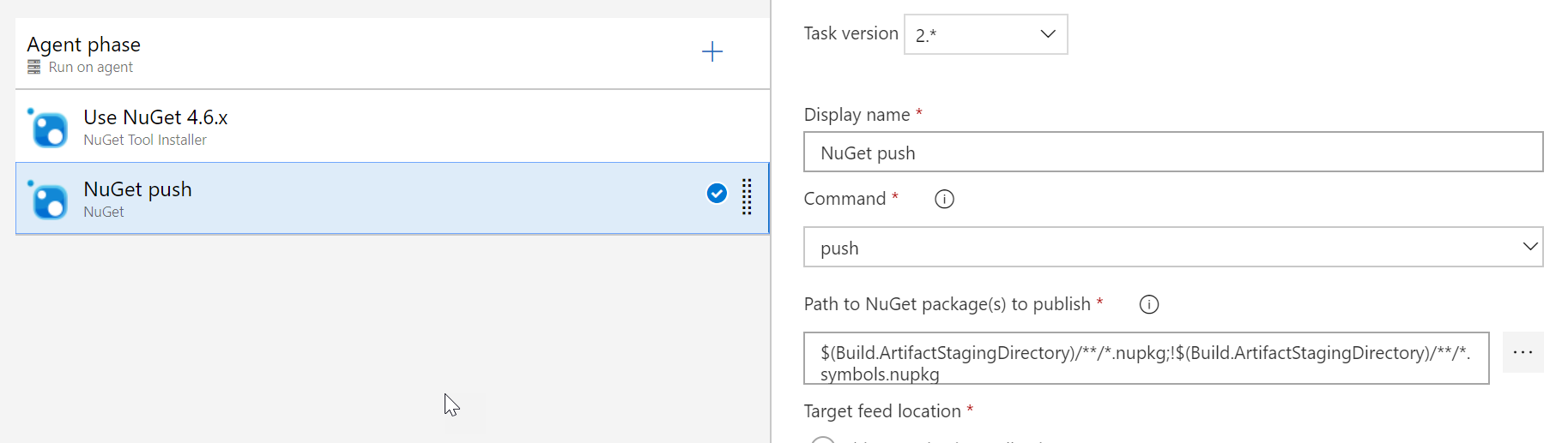 Screenshot of Azure DevOps NuGet Push definition