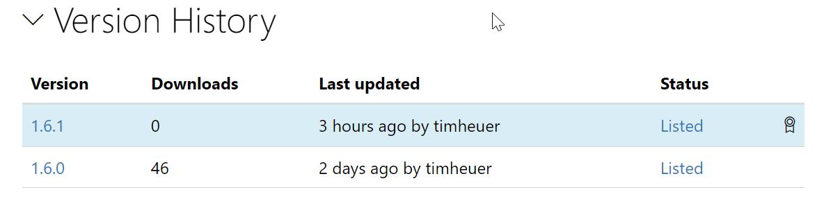 Screenshot of NuGet version history listing