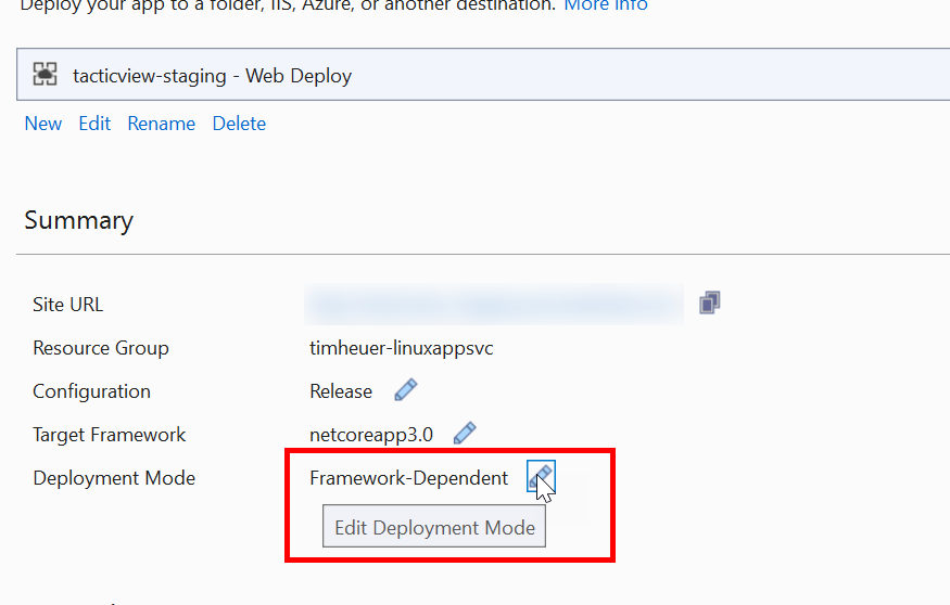 Screenshot of Visual Studio showing deployment mode option