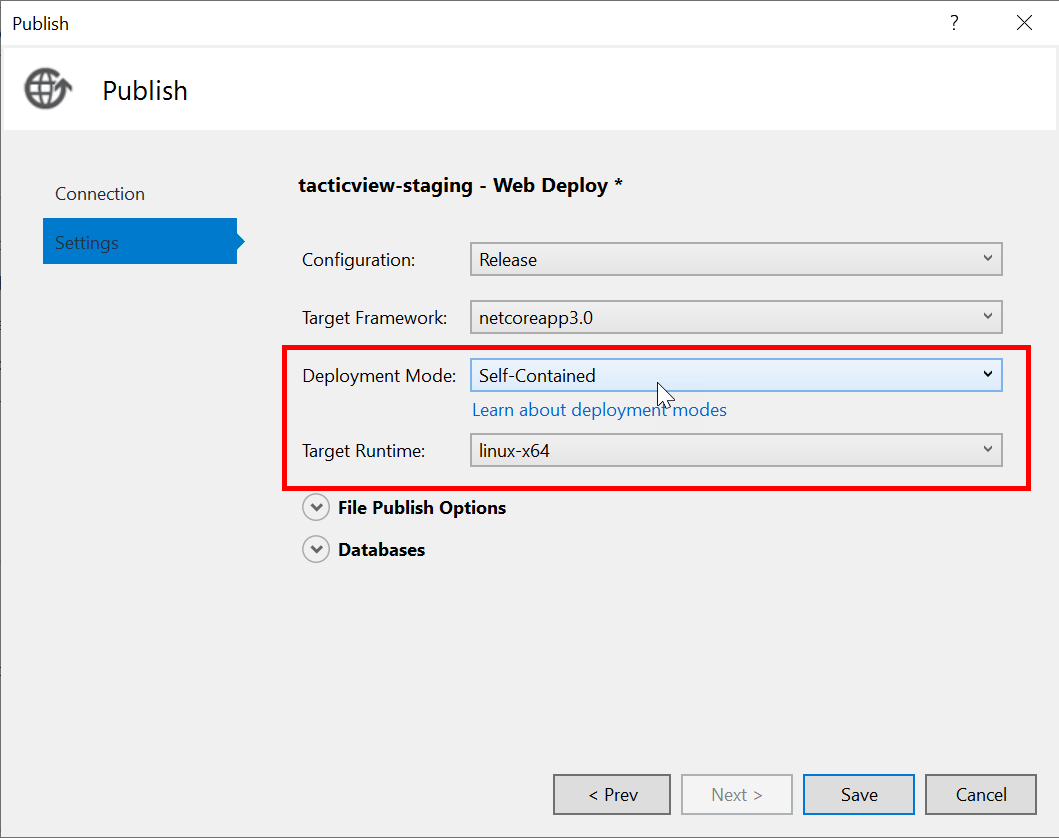 Screenshot of Visual Studio showing deployment mode and target runtime options